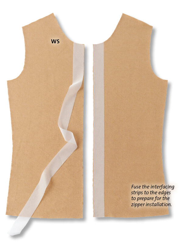 Fuse the interfacing strips to the edges to prepare for the zipper installation
