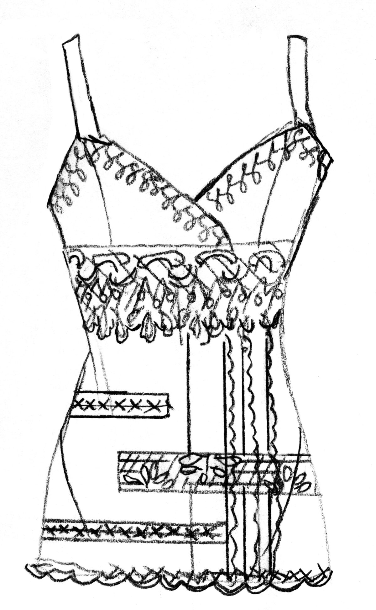 design sketch for top with lace trim