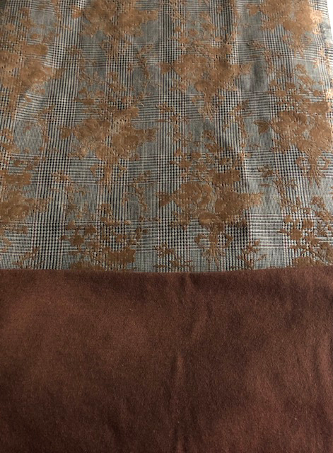 Flocked glen plaid fabric and brown wool yardage, both options for the Runway Sewn Your Way challenge