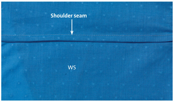 shoulder seam of the blouse