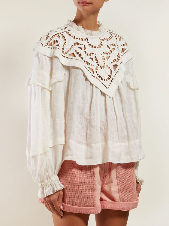 Isabel Marant lacy white top and pink shorts worn by a model