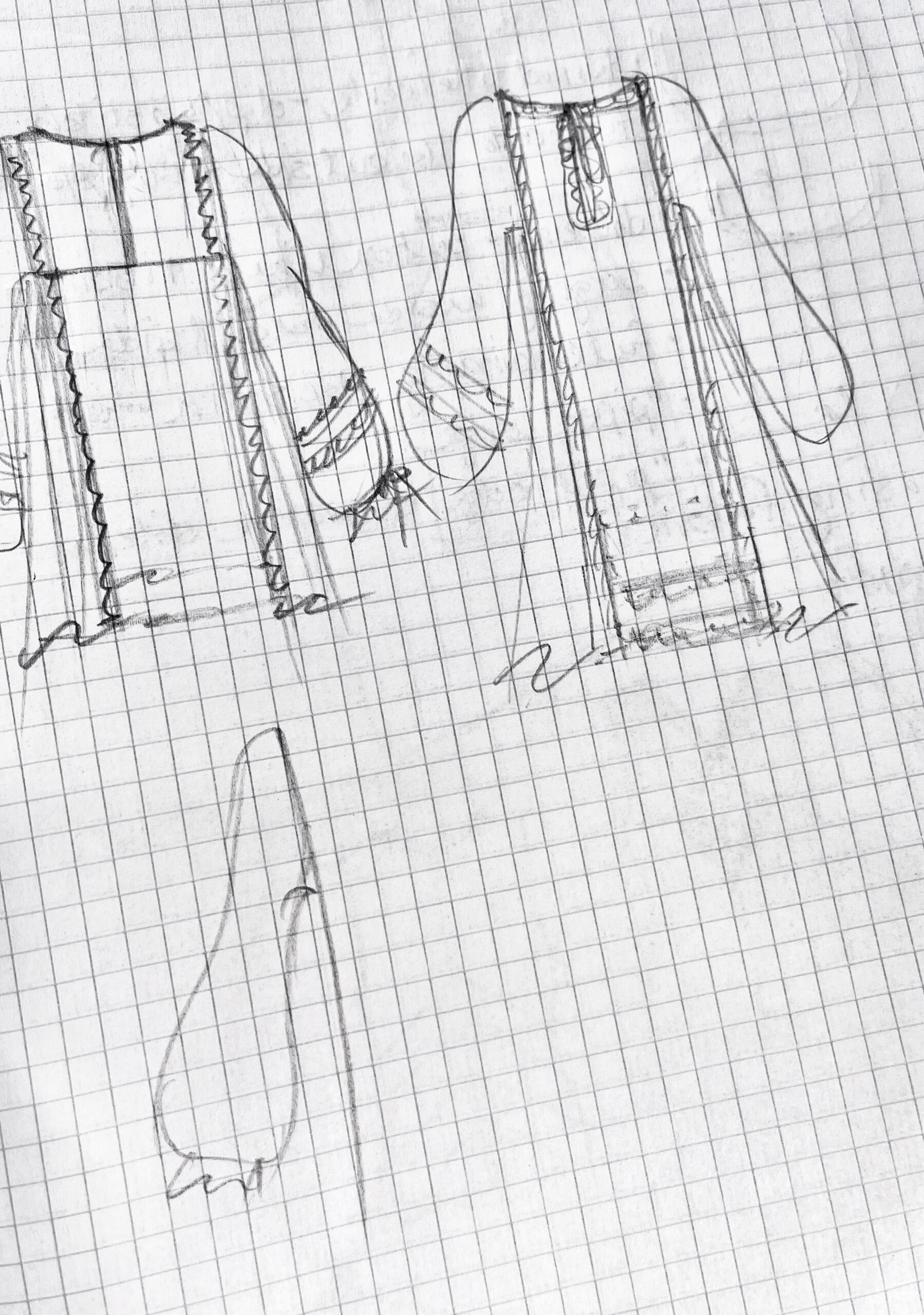 Becky Fulgoni's inspiration: pencil sketches of tunics and a sleeve option