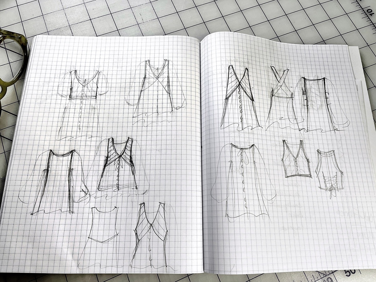 Becky FUlgoni's inspiration: sketched options for a lacy vest over a tunic