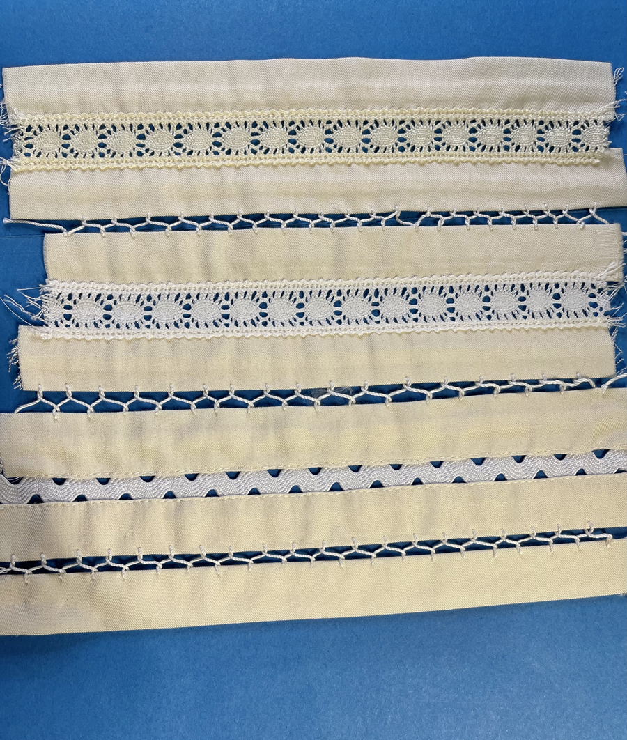Becky Fulgoni's inspiration: samples of lace strips sewn into fabric