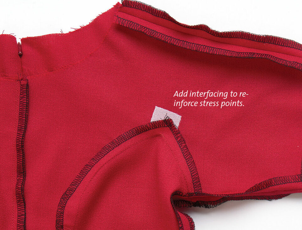 add interfacing to reinforce stress points