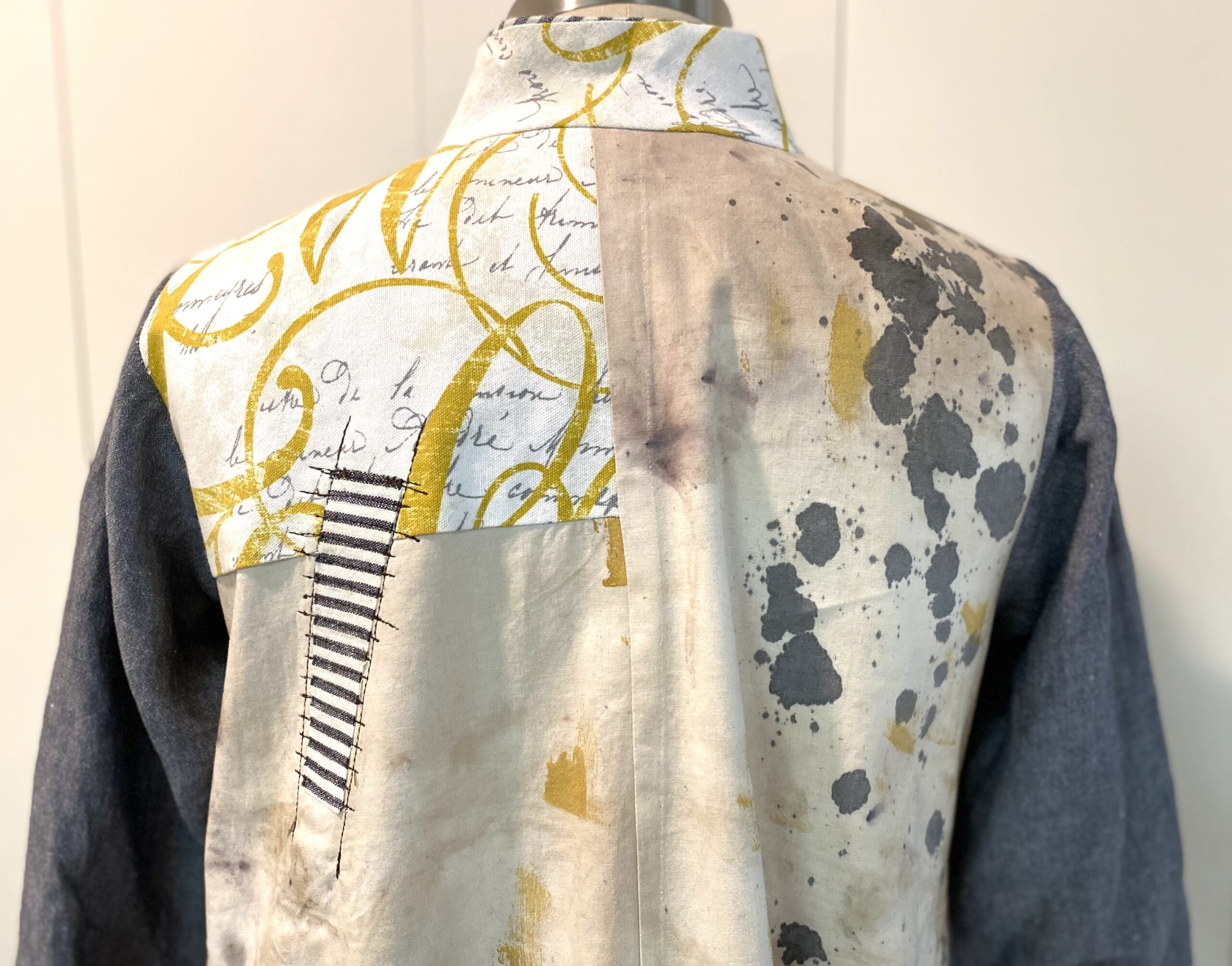 Upper back of a handmade shirt by Diane Ericson