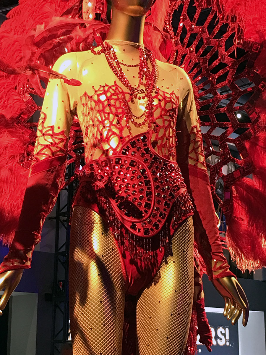 Showstoppers exhibition showgirl costume close-up