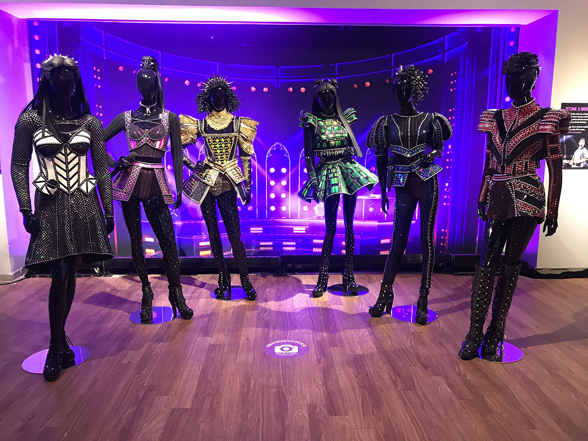 Costume collection from the show <em>Six</em>.