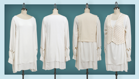 Four front and back views of flowing tunic and tailored vest