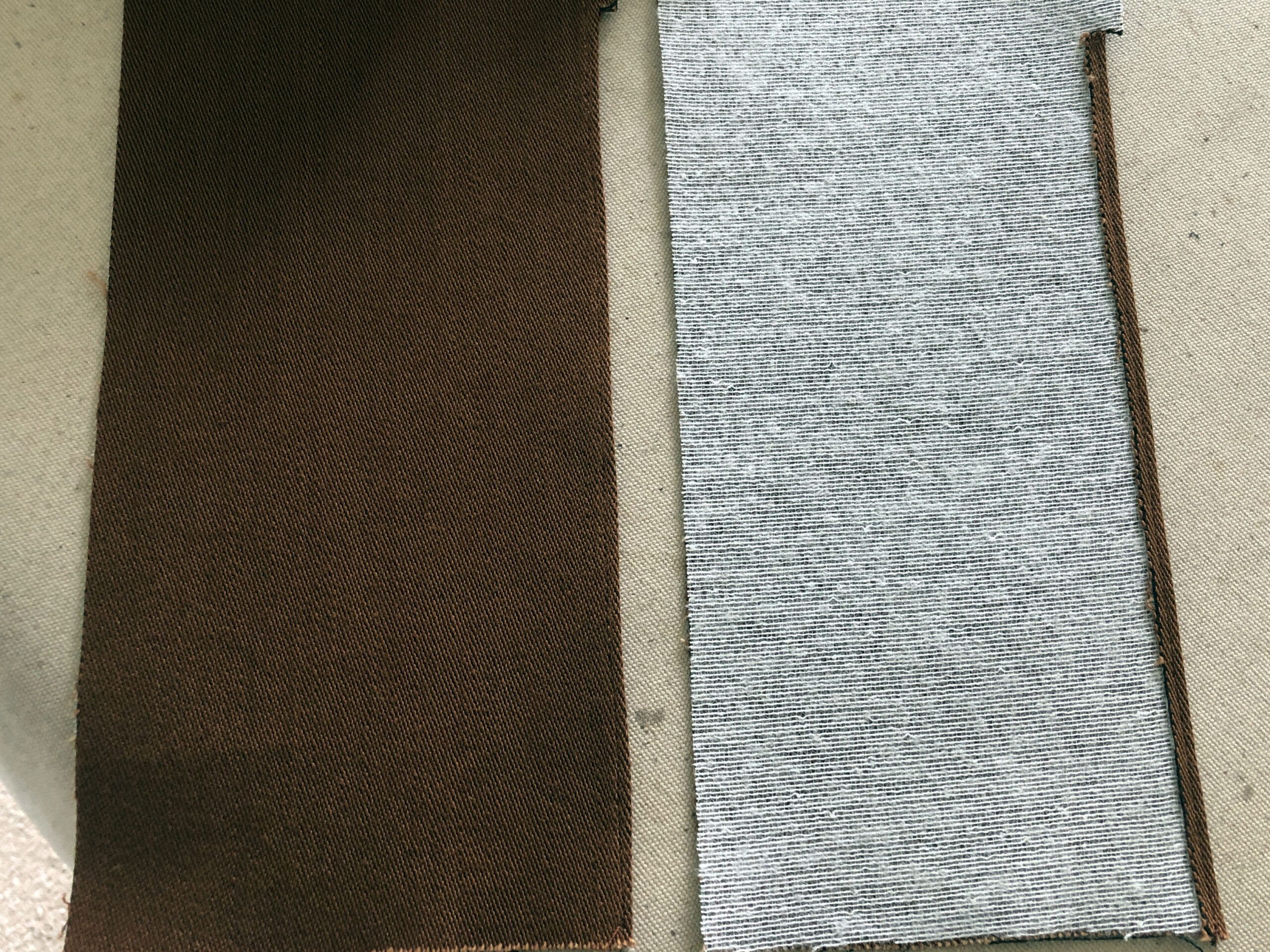 Fusible weft interfacing added to facing