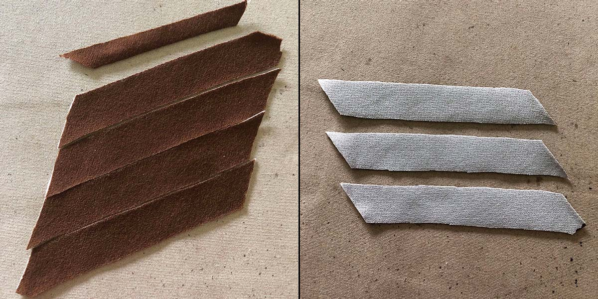 Fabric cut into strips, right and wrong sides