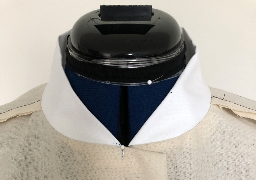 bomber-style collar attached to test garment