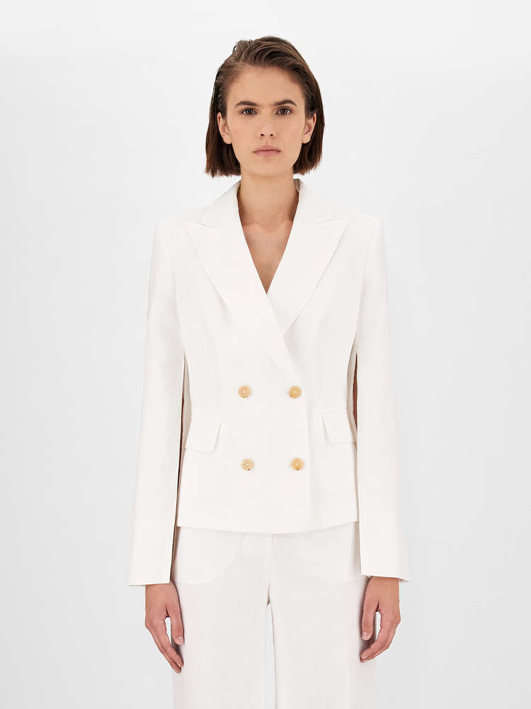 Caped sleeves on double-breasted women's blazer, from the Max Mara Spring-Summer 2021 Collection