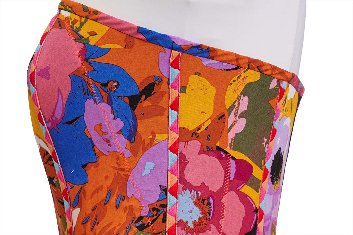 Side view of upper bodice on technicolor minidress