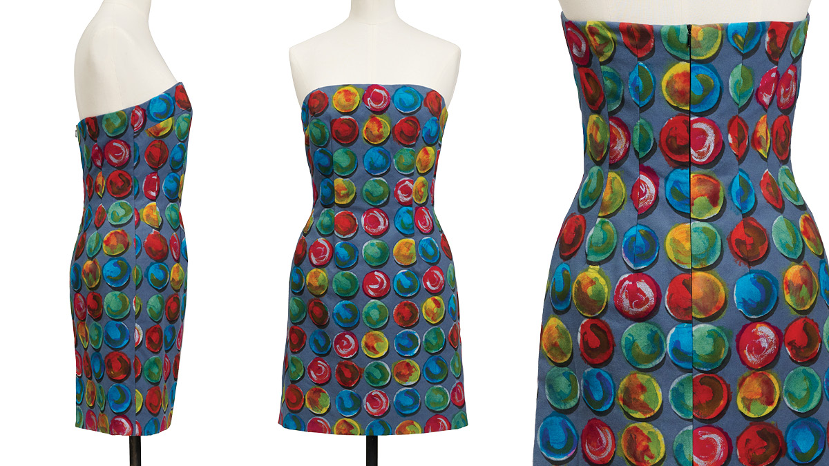 Hand-printed fabric with a floating circles motif made into a strapless dress