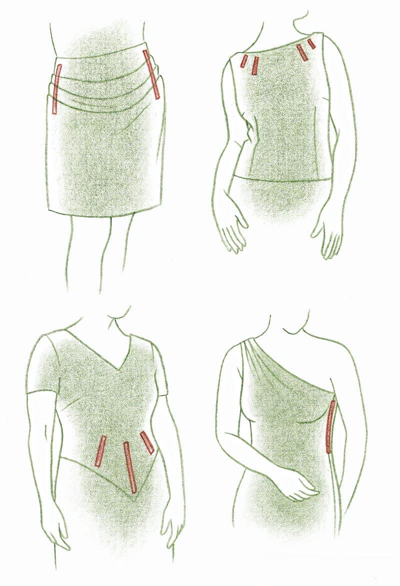 Sculpted folds, bodice, neckline, sideseam