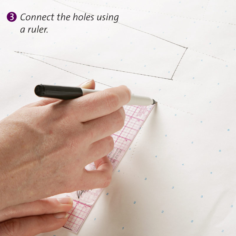 Connect the holes using a ruler