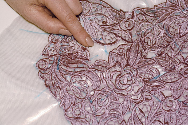 Machine embroider allover lace threads