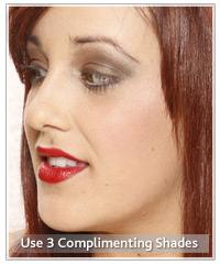 Model with dark three tone eye shadow