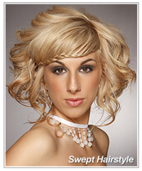 Model with swept hair