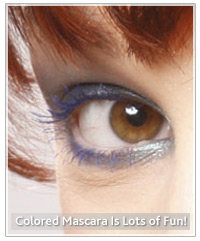 Model with blue mascara