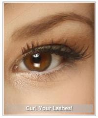 Model with curled black eyelashes