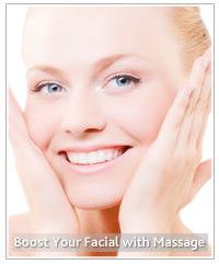 Model massaging her face