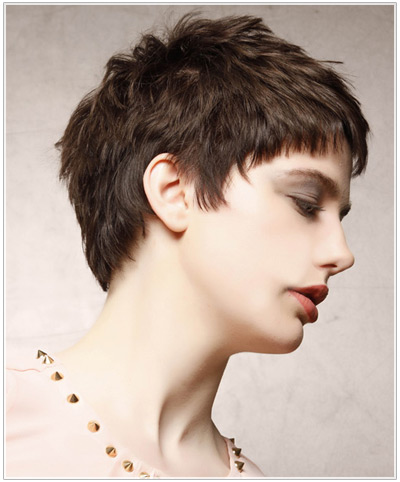 Model with short hair