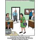 Frustrated by Charlene's frequent disappearances from the office, Mr. Hembley devised an effective solution.
