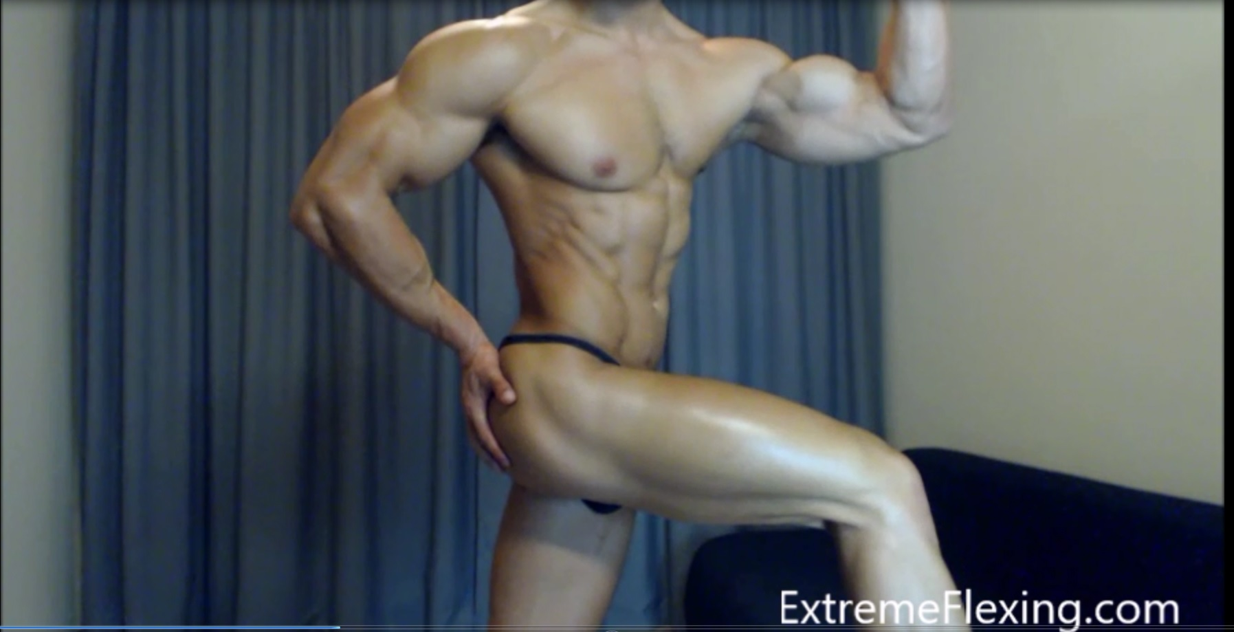 Workout in Thongs ,get my Biceps Hard and put on Oil