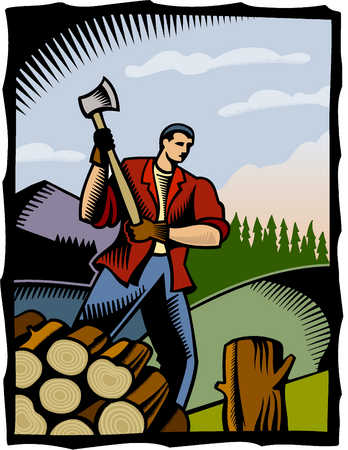 a man chopping wood with an axe