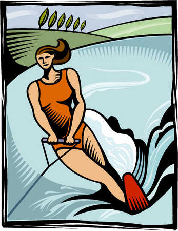 an illustration of a woman water skiing