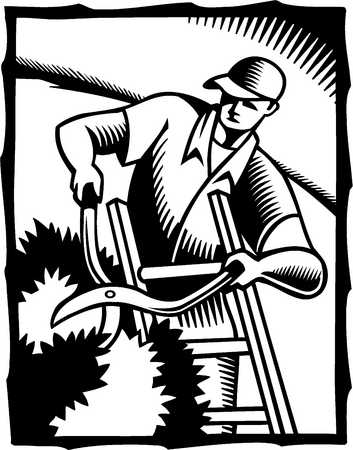 a black and white illustration of a man cutting hedges