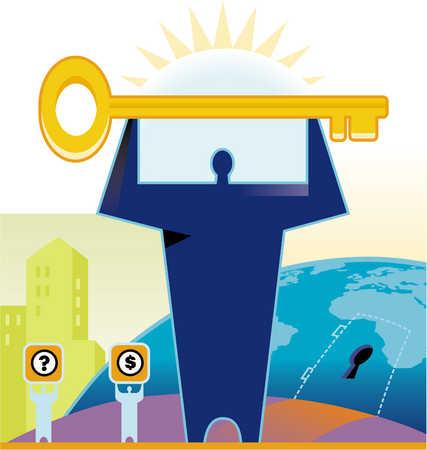 A man holding a giant key