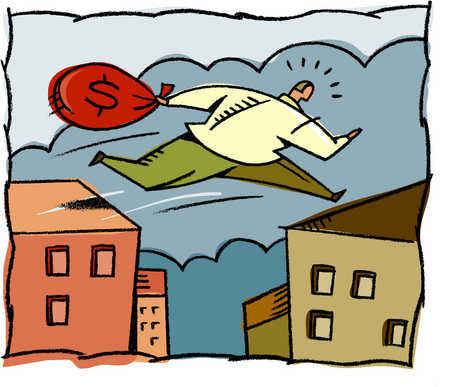 A man with a bag full of money jumping on roof tops