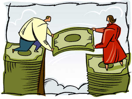 A man and woman building a stack of bills