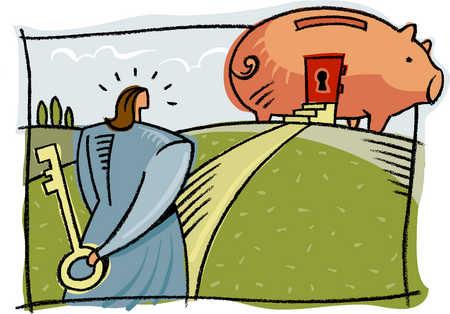 a businesswoman holding a key to a piggy bank