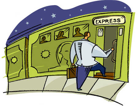 a businessman getting on the express train
