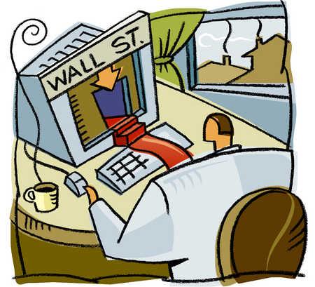 A man accessing wall street through his computer