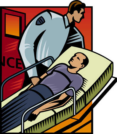 An illustration of man on a stretcher