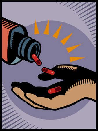 an illustration of a bottle of pills