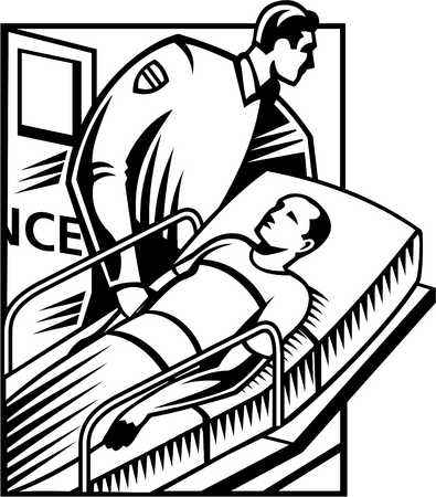 A black and white illustration of a patient being wheeled into the emergency room