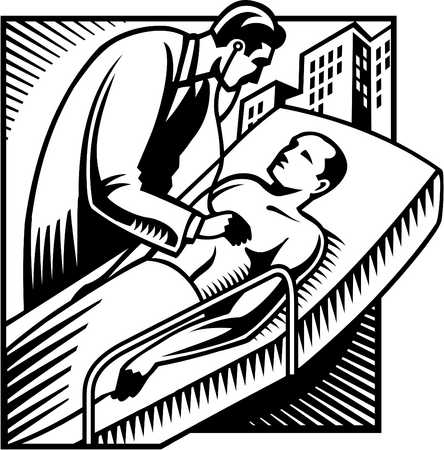 A black and white illustration of a doctor listening to a patient's heartbeat