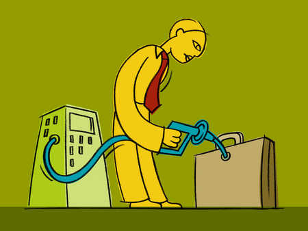 a businessman fueling a briefcase with a pump
