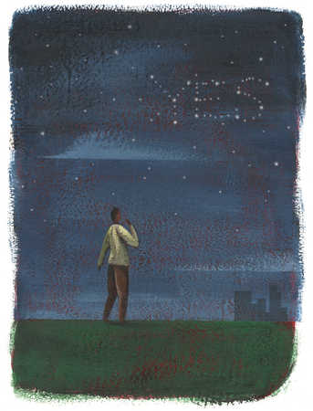 a man looking at the stars forming the word yes