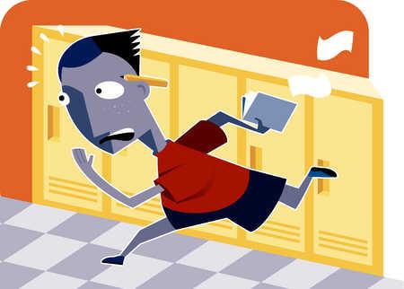 a boy running in the school hallways