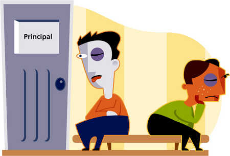 Stock Illustration Two Boys Each With A Black Eye Wait