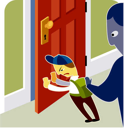 A boy pushing the door closed