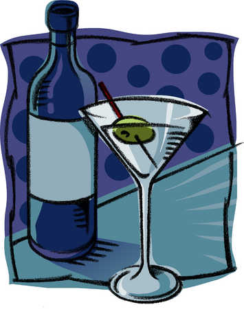 A glass of martini with an olive