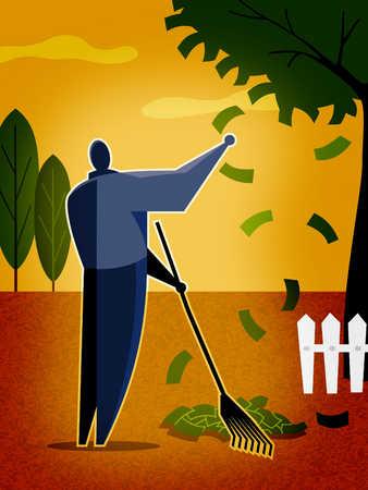 a man raking money tree